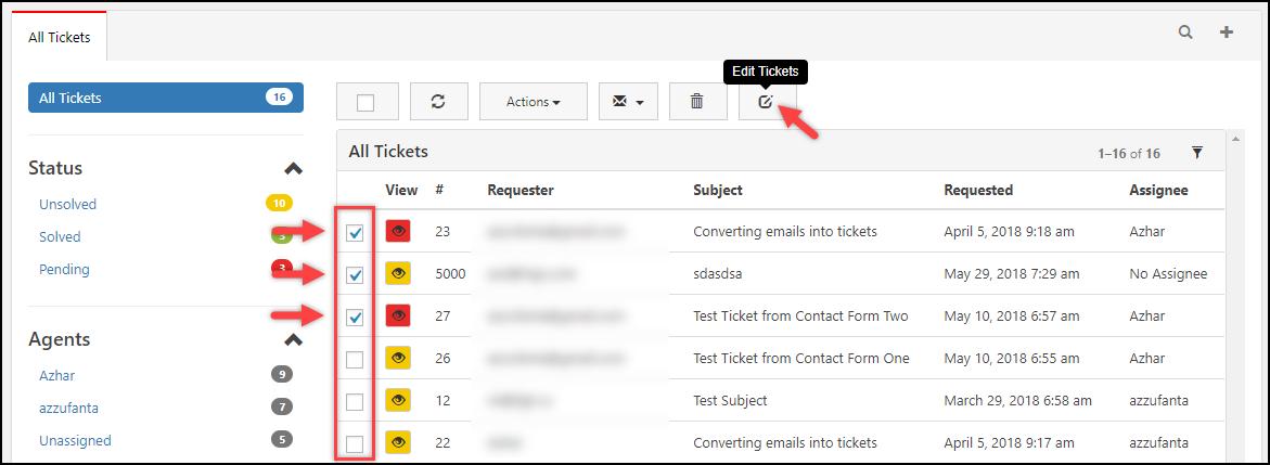 WSDesk | Select tickets for Bulk editing