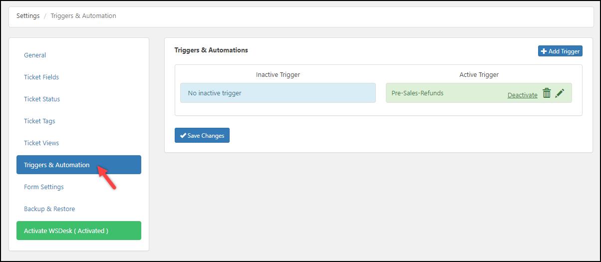WSDesk | Triggers & Automation settings