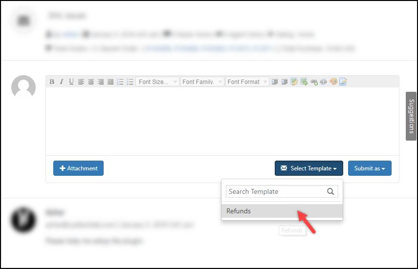 WSDesk | Using Reply template