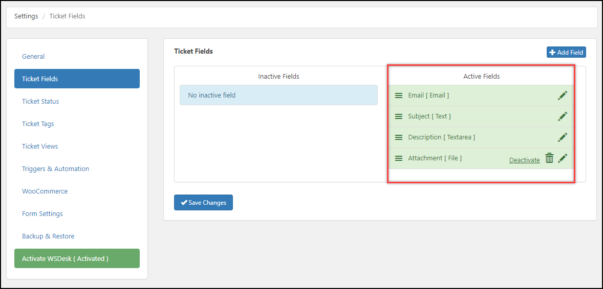 WSDesk Helpdesk | Created Ticket Fields