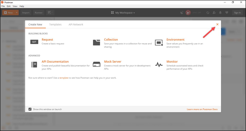 WSDesk Helpdesk | Postman Startup Window