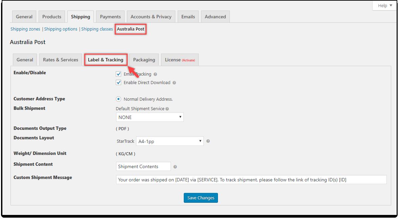 ELEX WooCommerce Australia Post StarTrack | Label & Tracking settings