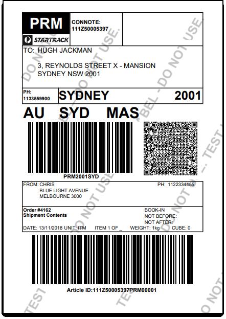 ELEX WooCommerce Australia Post StarTrack | Sample StarTrack Shipping Label