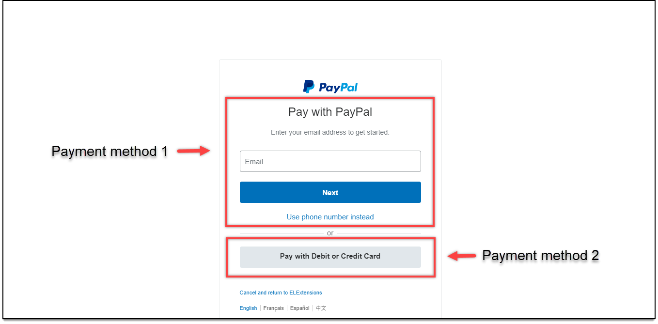 Process Checkout at ELEXtensions | PayPal payment methods