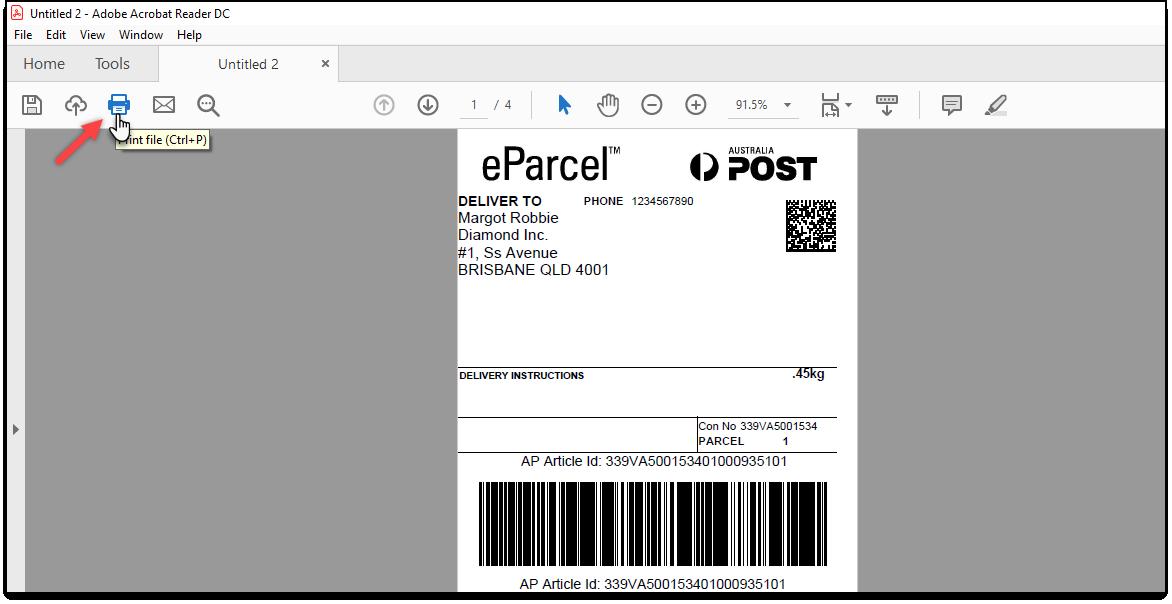 Printing Mulitple AusPost Shipping Labels | Printing PDF file in Adobe PDF Reader