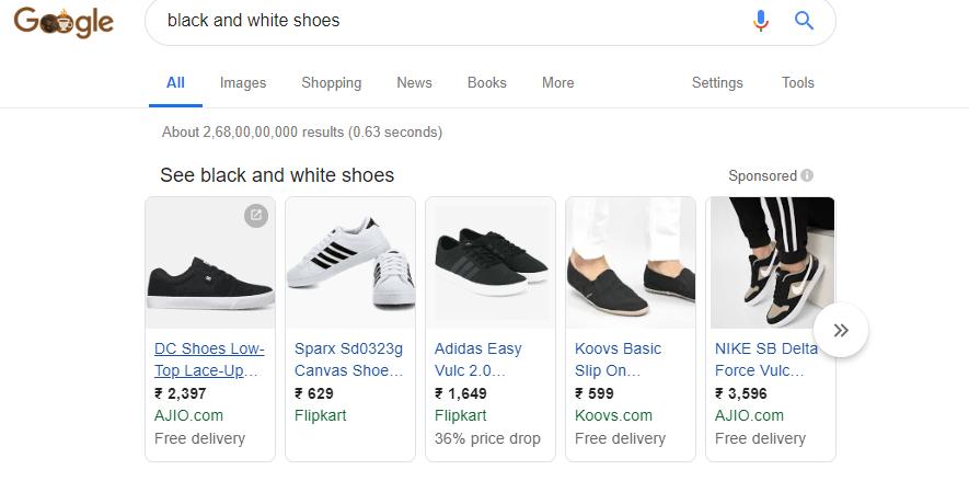 ELEX Google Product Feed Black And White Shoes WooCommerce Google Product Feeds